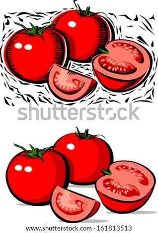 Tomatoes illustration in wood cut style - stock vector