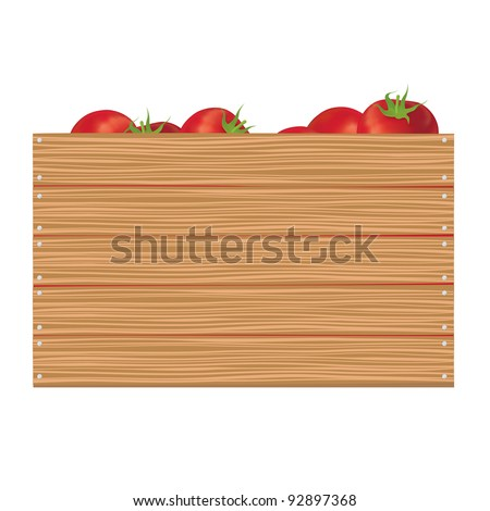 Tomatoes in wooden horizontal box - stock vector