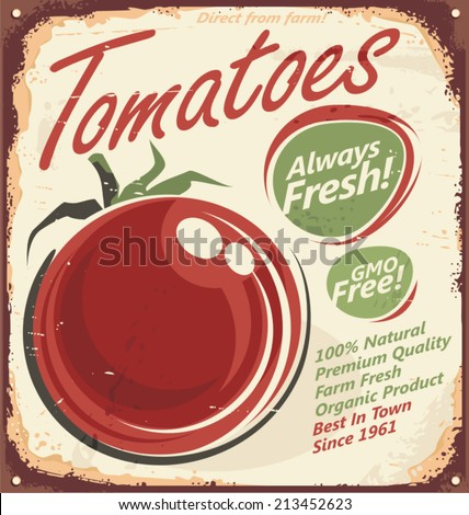 Tomatoes vintage metal sign - stock vector