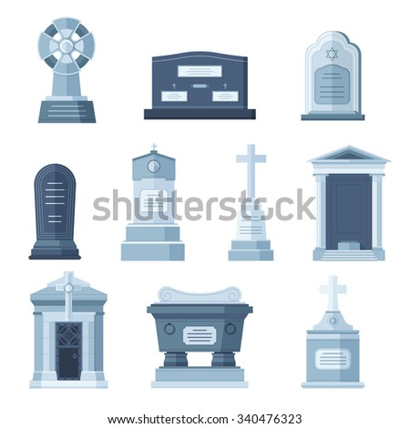 Tombs stone grave vector construction set. Vector tombs icons isolated on white background. Tombs stone grave for dead people. Traditional tombs stone graves from different country. Tombs illustration - stock vector