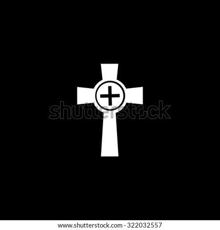 Tombstone - cross gravestone. Simple flat icon. Black and white. Vector illustration - stock vector