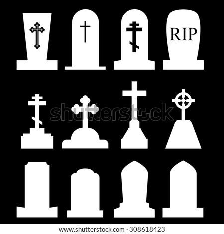 Tombstone, Grave Icon Set - stock vector