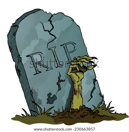 Tombstone with Zombie Hand - vector image - stock vector