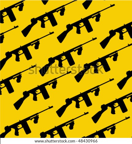 Tommy-gun silhouette - stock vector