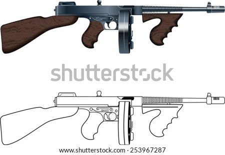 thompson machine gun coloring pages - photo#1