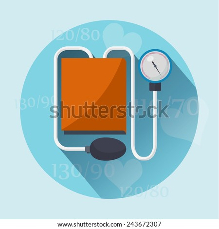 Tonometer flat icon with long shadow. Vector illustration - stock vector