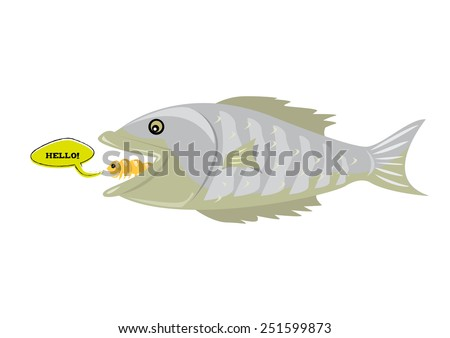 Tonque-eating Fish Parasite called Cymothoa Exigua says Hello. Vector and jpg concept. The parasite is mostly found in  Gulf of California. - stock vector