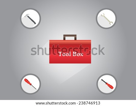 Tool Box and Tool Icons - stock vector