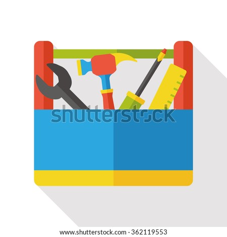 tool box flat icon - stock vector
