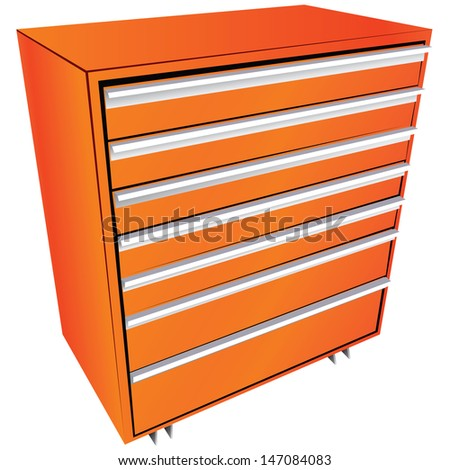 Tool box in the form of a locker with drawers. Vector illustration. - stock vector