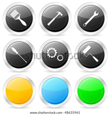 Tool circle icon set on a white background. Vector illustration. - stock vector