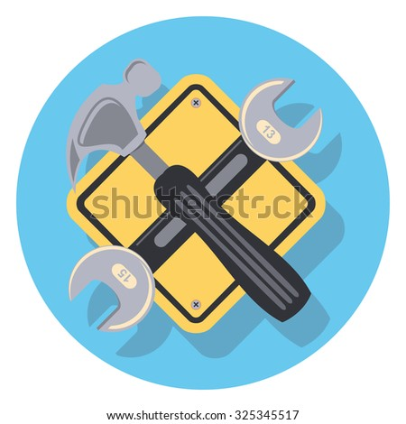tool flat icon in circle - stock vector