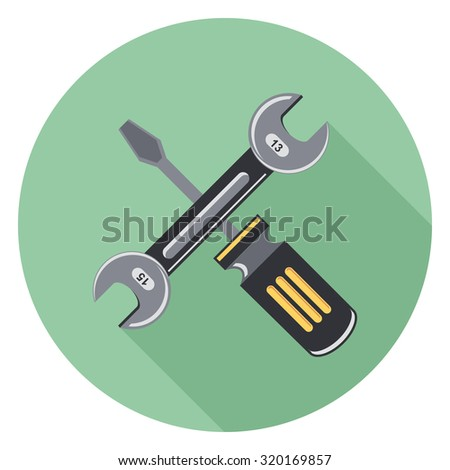 tool flat icon with shadow - stock vector