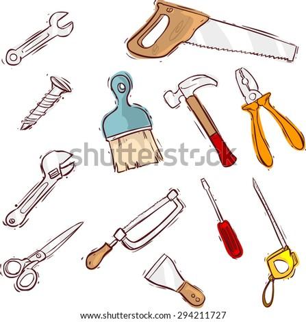 Tool icon series set - stock vector