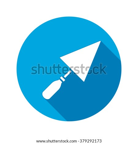 Tool icon. Spattle, surfacer, plastering instrument. Work, job, labor, toil, repair, building symbol. White sign on round blue button with long shadow. Vector isolated - stock vector