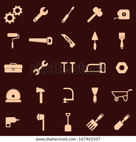 Tool icons on red background, stock vector - stock vector