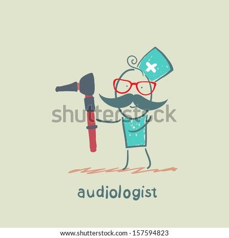 tool keeps an ear to listen - stock vector