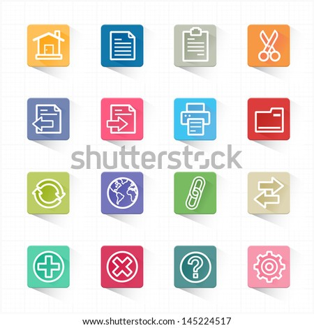 Toolbar website icons and white background - stock vector