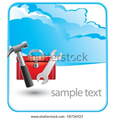 toolbox cloud banner - stock vector