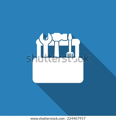 toolbox icon with long shadow - stock vector