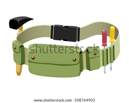 Tools belt isolated on white - stock vector