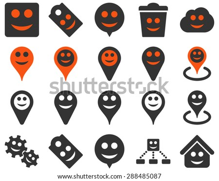 Tools, emotions, smiles, map markers icons. Vector set style: bicolor flat images, orange and gray symbols, isolated on a white background. - stock vector