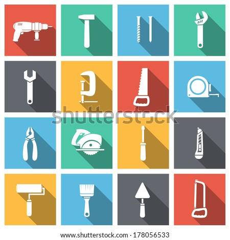 Tools flat icons set of spanner saw driver and paint isolated vector illustration - stock vector