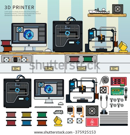 Tools for 3D printing. Technology concept. Printing technics on the table against blue wall. Paints, printer, computer, details isolated on white background. Lline flat design - stock vector