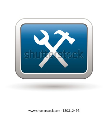 Tools icon on the blue with silver rectangular button. Vector illustration - stock vector