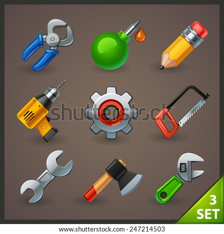 tools icon set-3 - stock vector