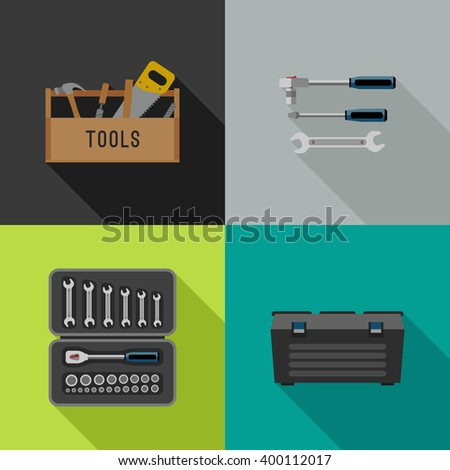 Tools icons in flat style. Vector illustrations of hand tools. - stock vector