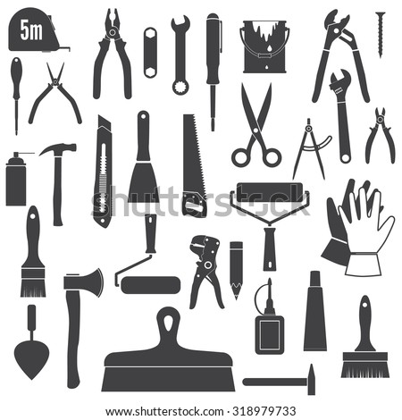 Tools Icons, repair tool. Set hand tools, silhouettes. Black icons isolated on white background - stock vector