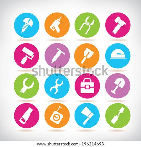 tools icons set, colorful buttons - stock vector