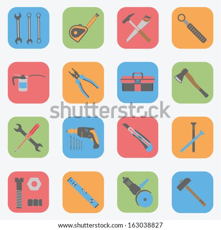 Tools Icons Set - Flat - stock vector