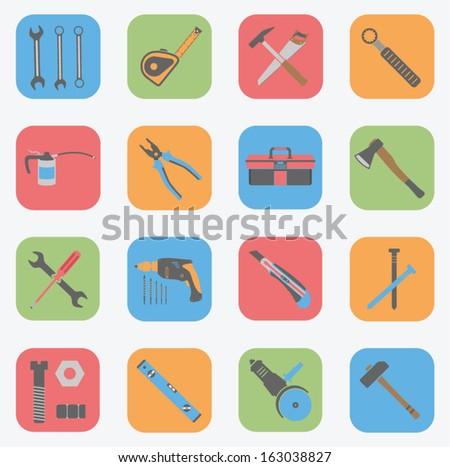 Tools Icons Set - Flat - stock vector