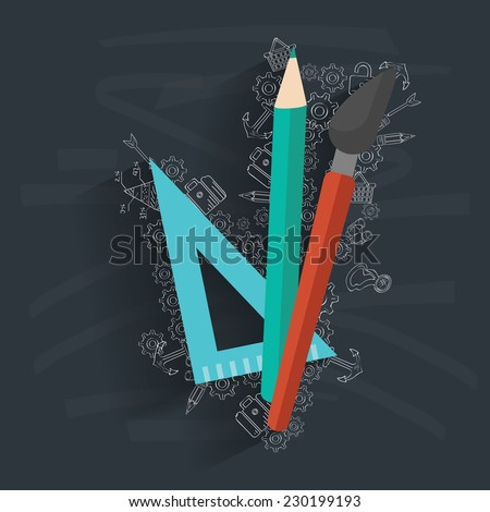 Tools of education on blackboard background,vector - stock vector