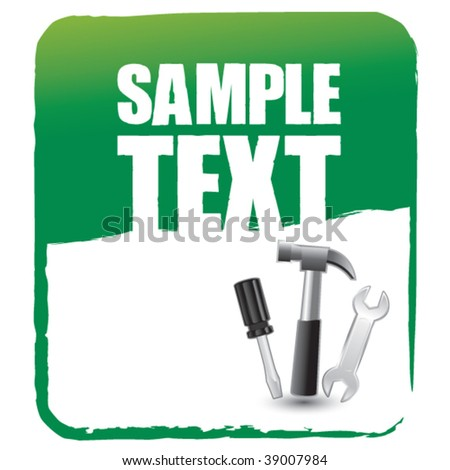 tools on green banner template - stock vector