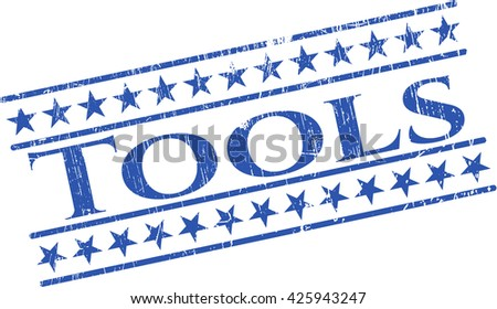 Tools rubber stamp with grunge texture - stock vector