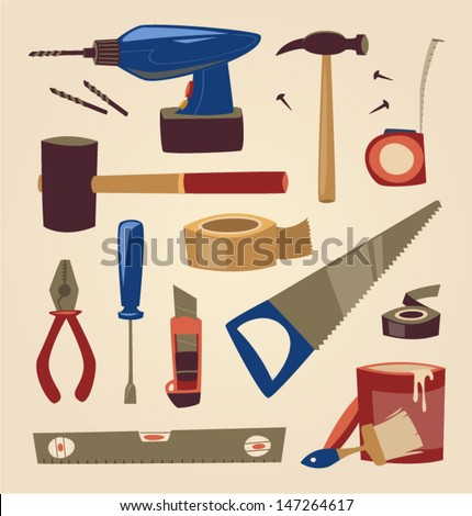 Tools set. Household series vector illustration. - stock vector