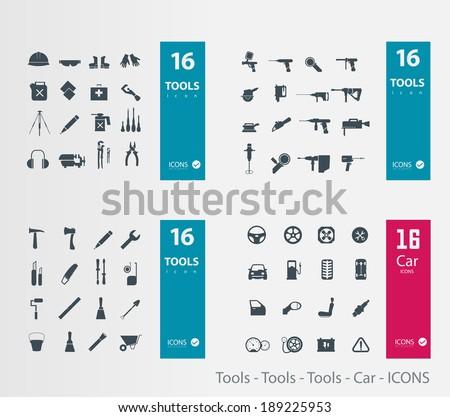 Tools - Tools - Tools - Car - ICONS - stock vector