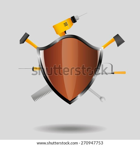 Tools with shield - stock vector