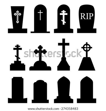 Toombstone, Grave Icon Set - stock vector
