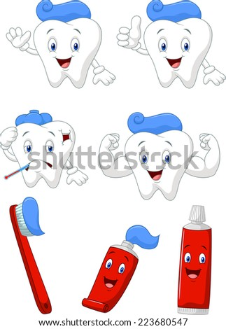 Tooth, brush and tooth paste cartoon character collection - stock vector