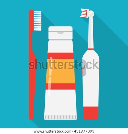 tooth brushes toothpaste and Electric Toothbrush isolated on blue background. - stock vector