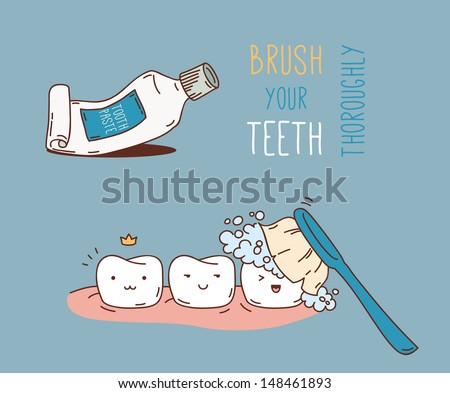 Tooth Cleaning - stock vector
