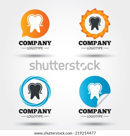 Tooth enamel protection sign icon. Dental toothpaste care symbol. Healthy teeth. Business abstract circle logos. Icon in speech bubble, wreath. Vector - stock vector