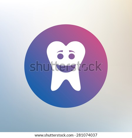 Tooth happy face sign icon. Dental care symbol. Healthy teeth. Icon on blurred background. Vector - stock vector