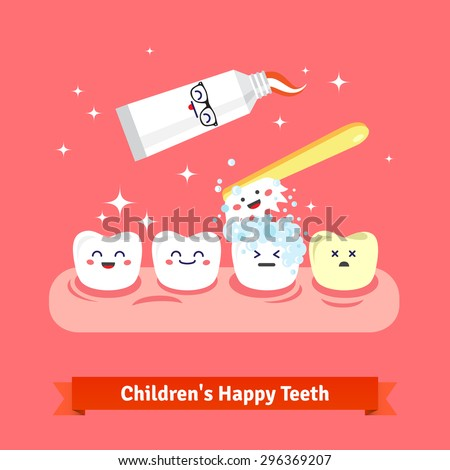 Tooth hygiene icon set. Cute, smiling and happy teeth are brushing with toothbrush and toothpaste. Flat style cartoon vector icons. - stock vector