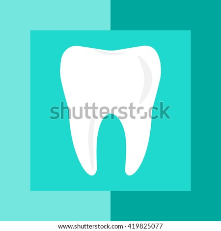 Tooth icon. Flat design style Simple icon. Web site page and mobile app design element. Logotype concept icon - stock vector