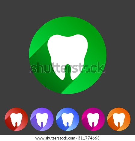 Tooth icon flat web sign symbol logo label - stock vector